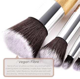 Vegan Mini Powder Makeup Brush or Beard Brush- Bamboo and Silver from Hurtig Lane in Brushes & Tools, Makeup & Cosmetics