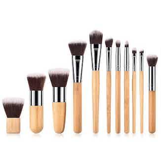 Gift Set Full Vegan Makeup Brush Set- Bamboo and Silver from Hurtig Lane in Women's Gift Sets, Women's Sustainable Clothing