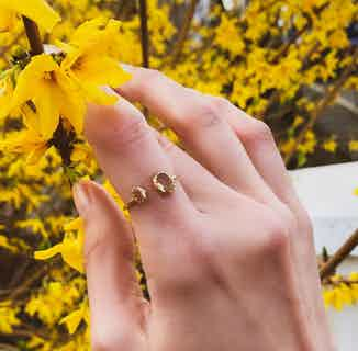 Eka   Sustainably Sourced Asymmetric Jewelled Ring   Silver from So Just Shop in Jewellery, Women's Sustainable Clothing
