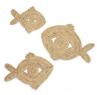 Palm Leaf Trivets   Handwoven Recycled Fish Homeware   Set of 3 from So Just Shop in Sustainable Homeware & Leisure,