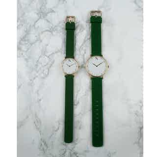 Recycled Silicone Watch | Emerald Green | Rose Gold or Silver | Large from Ksana Watches in Watches, Accessories
