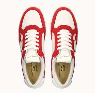 Philippe Model Lyon | Organic Cotton Vegan Trainers | White & Red from ACBC in Trainers, Footwear