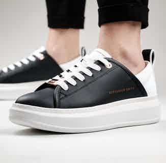 Alexander Smith Wembley   Recycled Polyester Vegan Trainers   Black & White from ACBC in Trainers, Footwear