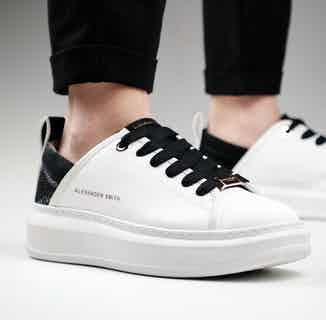 Alexander Smith Wembley | Recycled Polyester Vegan Trainers | White & Black from ACBC in Trainers, Footwear