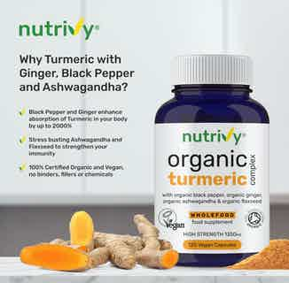 Joint Relief & Recovery Supplements | Organic Turmeric with Ginger & Black Pepper | 120 Capsules from Nutrivy in Vitamins & Supplements, Sustainable Beauty & Health