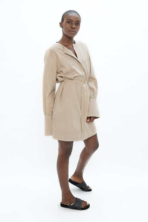 Cap Ferret | Organic Cotton Twill Belted Shirt Dress | Sand from 1 People in Women's Sustainable Clothing,