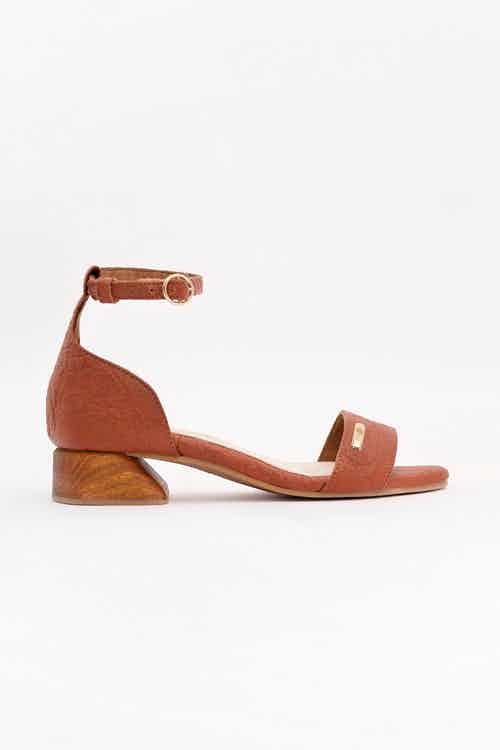 Chicago | Piñatex® Ankle Strap Low Block Heels | Canela Tan from 1 People in Women's Sustainable Clothing,
