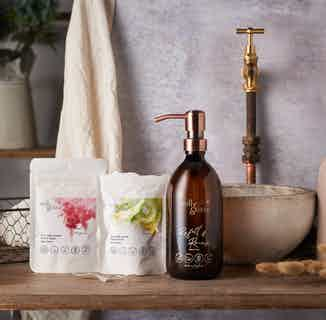 Zero Waste Natural Hand Wash Set Gift Pack |.Sweet Cherry | Fruity Kiwi | 500ml Glass Bottle from Milly & Sissy in Sustainable Beauty & Health,