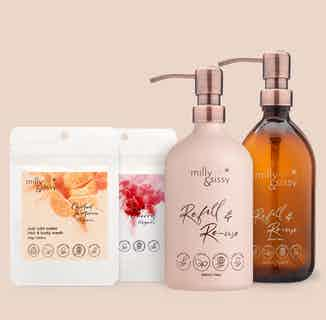 Make The Switch Set   Zero Waste Natural Hair & Body Wash Starter Set   Candied Tangerine   Sweet Cherry from Milly & Sissy in Sustainable Beauty & Health,