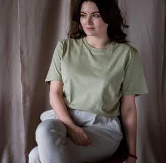 GOTS Organic Cotton Boxy Relaxed T-Shirt   Sage Green from Morcant in Women's Sustainable Clothing,