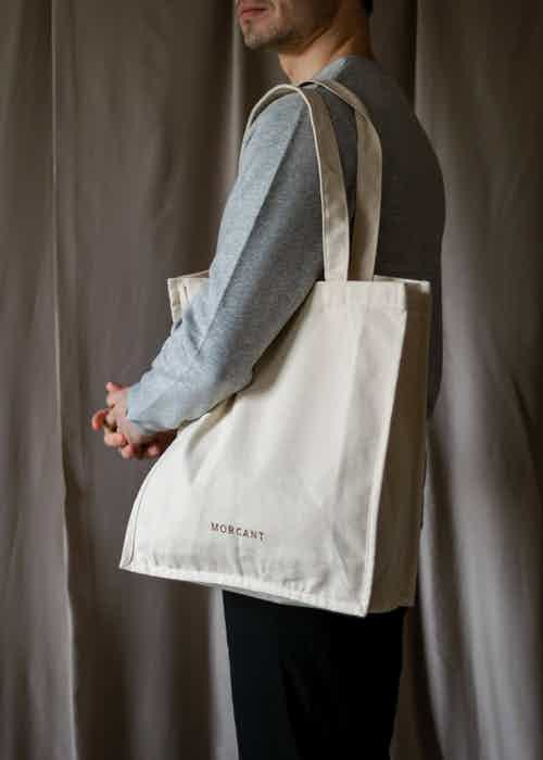 GOTS Organic Cotton Essentials Tote Logo Bag | Natural from Morcant in Totes Shoppers, Bags