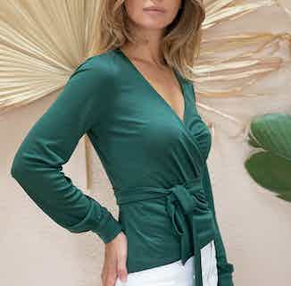 Sequoia | TENCEL® V-Neck Wrap-Over T-Shirt | Imperial Green from Avani in Tops, Women's Sustainable Clothing