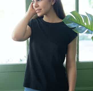 Hortensia | GOTS Organic Women's T-Shirt with Open Back | Black from Avani in T shirts, Tops