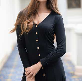 Camellia | TENCEL® V-Neck A Line Dress with Flamed Buttons | Black from Avani in Dresses & Skirts, Women's Sustainable Clothing