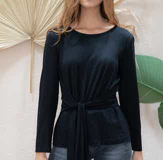 Gardenia | TENCEL® Long Sleeved Top with Tie Gathered Waist | Black from Avani in Tops, Women's Sustainable Clothing