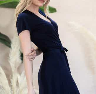 Acacia | TENCEL® V-Neck Wrap Dress & Flared Sleeve | Navy from Avani in Dresses & Skirts, Women's Sustainable Clothing
