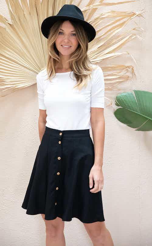 Parrotia   TENCEL® Organic A-Line Skater Skirt   Black from Avani in Skirts, Dresses & Skirts