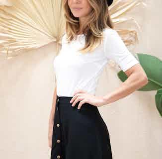 Parrotia | TENCEL® Organic A-Line Skater Skirt | Black from Avani in Skirts, Dresses & Skirts
