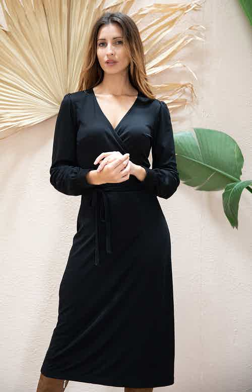 Nénuphar | TENCEL® Wrap Midi- Dress with V Neckline | Black from Avani in Dresses & Skirts, Women's Sustainable Clothing