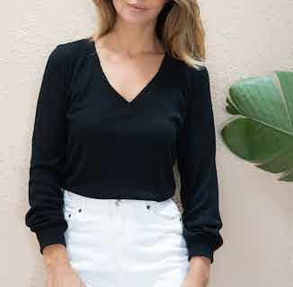 Idesia | OEKO-TEX® Hemp Reversible V- Neck Long Sleeve Sweater | Black from Avani in Women's Sustainable Clothing,