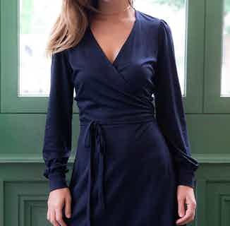 Nénuphar | TENCEL® V-Neck Wrap Dress with Gathered Cuffs | Navy Blue from Avani in Dresses & Skirts, Women's Sustainable Clothing
