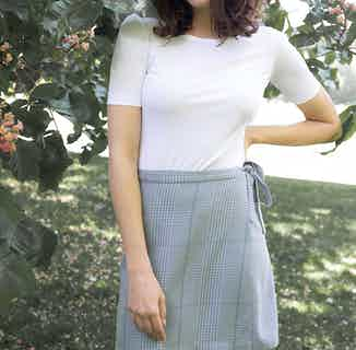 Azurite | TENCEL® Organic Checked A-Line Skirt | Sky Blue from Avani in Skirts, Dresses & Skirts