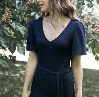 Iris | TENCEL® Organic V-Neck Loose Fitted Jumpsuit | Navy Blue from Avani in Women's Sustainable Clothing,