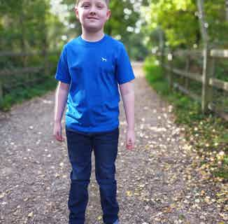 Organic Cotton Boys' Crew Neck T-Shirt | Bonsall Blue from Masson and Green in Tops & Jumpers, Boys 4+ Years