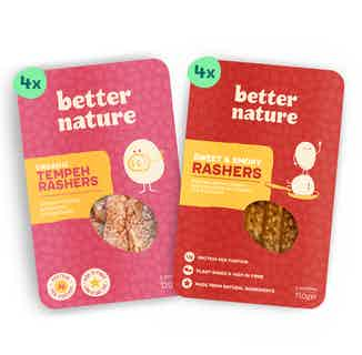 You're Bacon Me Hungry Bundle | Organic Soy Tempeh Rashers | Pack of 8 from Better Nature in Meat Alternatives, Sustainable Food & Drink