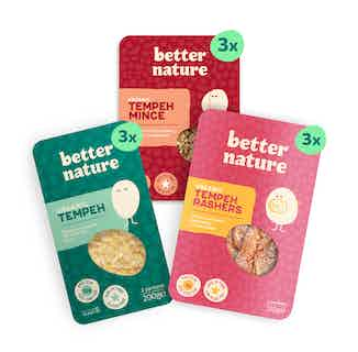 Easy as 1, 2, 3 Bundle | Organic Soy Tempeh Core Bundle | Pack of 9 from Better Nature in Meat Alternatives, Sustainable Food & Drink