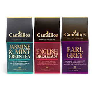 Classic Set Blended Tea Collection | Biodegradable Pyramid Bags | Pack of 3 from Camellios in Tea, Drinks