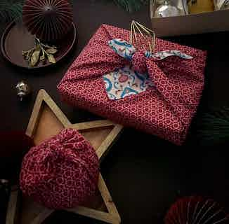 Fabric Gift Wrap Furoshiki Cloth - 9 Piece Teal & Cherry Bundle from FabRap in Gift Wrapping , Gifts