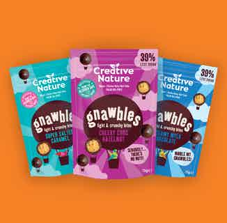 Gnawbles Snack Bundle Including Salted Caramel, Chocolate & Hazelnot and Mylk Chocolate Flavours from Creative Nature in Boxes & Hampers, Sustainable Food & Drink