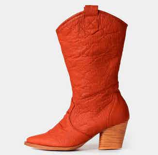 Pinatex® Vegan Leather Heeled Cowboy Boot   Carmel Red from Bohema Clothing in Boots, Footwear