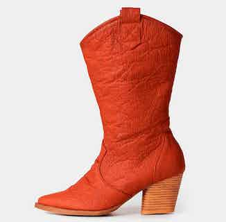 Pinatex® Vegan Leather Heeled Cowboy Boot | Carmel Red from Bohema Clothing in Boots, Footwear