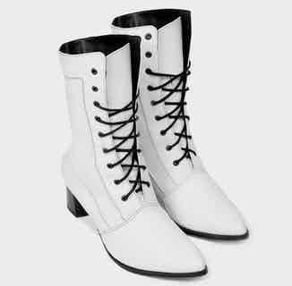 Desserto® Vegan Leather Lace up Heeled High Boots   White from Bohema Clothing in Boots, Footwear
