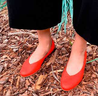 Pinatex® Vegan Leather Ballerina Textured Pumps | Paprika Red from Bohema Clothing in Footwear, Women's Sustainable Clothing