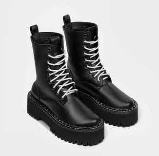 Desserto® Vegan Leather Worker Chunky Lace-up Boots   Black from Bohema Clothing in Boots, Footwear