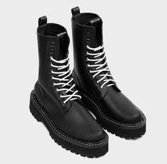 Vegan Cactus Leather Combat Worker Lace-Up Boots | Black from Bohema Clothing in Footwear, Women's Sustainable Clothing