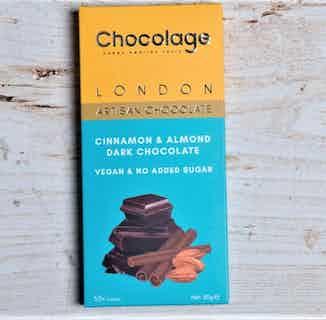 Vegan Artisan Chocolate Bar   Cinnamon & Almond Belgium Dark Chocolate from Chocolage in Bars, Chocolate