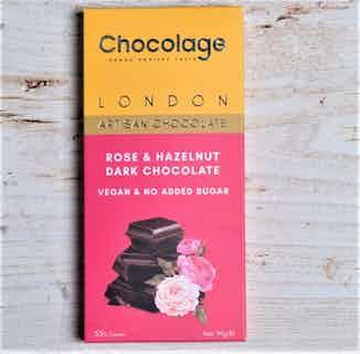 Vegan Artisan Chocolate Bar   Rose & Hazelnut Dark Chocolate from Chocolage in Bars, Chocolate