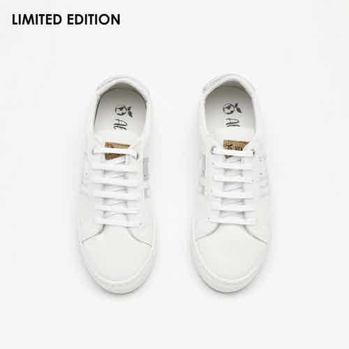 Vegan Leather & Recycled Plastic Striped Trainers | Shiny Silver from All My Eco in Trainers, Footwear