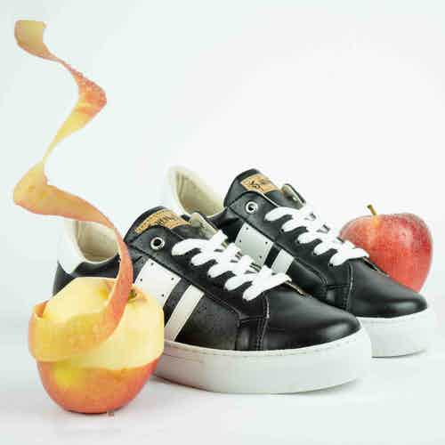 Vegan Patent Leather & Organic Cotton Trainers | Barky Black & White from All My Eco in Trainers, Footwear