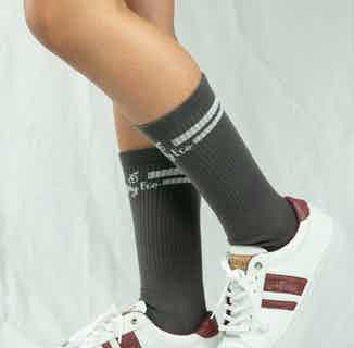 GOTS Organic Cotton Long Striped Sock | Single | Dark Grey from All My Eco