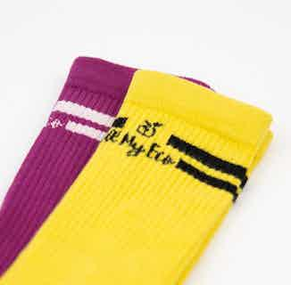 GOTS Organic Cotton Long Striped Sock | 2 Pack | Yellow & Purple from All My Eco