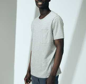 Upcycled Cotton Men's Short Sleeve T-Shirt   Grey Stripe from Cut & Pin in Men's Sustainable Fashion,
