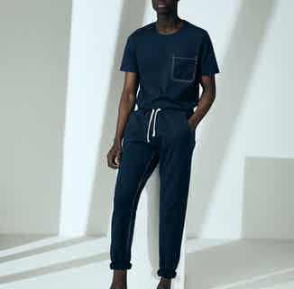 Organic Cotton Men's Drawstring Track Pant   Navy from Cut & Pin in Men's Sustainable Fashion,
