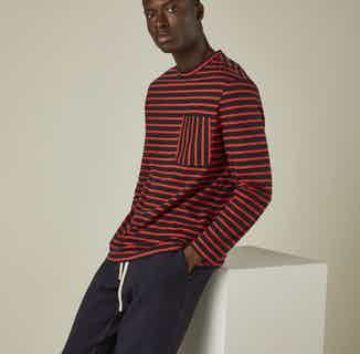 Upcycled Cotton Long Sleeve Men's T-Shirt   Black & Red Striped from Cut & Pin in Men's Sustainable Fashion,