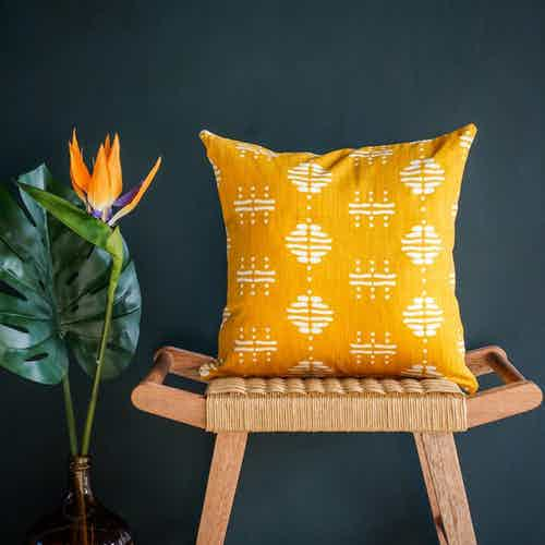 Nala Cushion Cover in Yellow from Tikauo in Cushions & Covers, Furnishings
