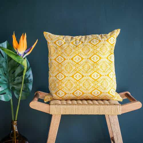 Omar Cushion Cover in Yellow from Tikauo in Cushions & Covers, Furnishings